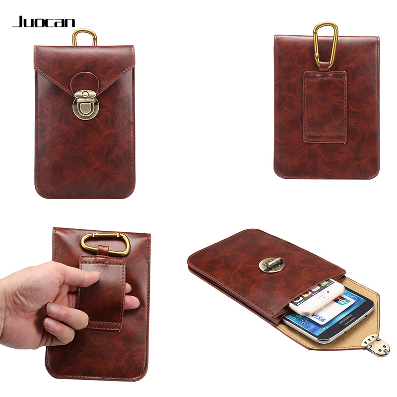 Juocan Fashion Fine PU Leather Cell Phone Pouch For Iphne 6 Function Hang On Belt Waterproof