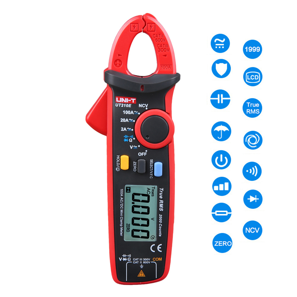 цены UNI-T UT210E Digital Multimeter True RMS AC/DC Current Mini Clamp Meters DMM Capacitance Tester Digital Earth Ground Multimeter