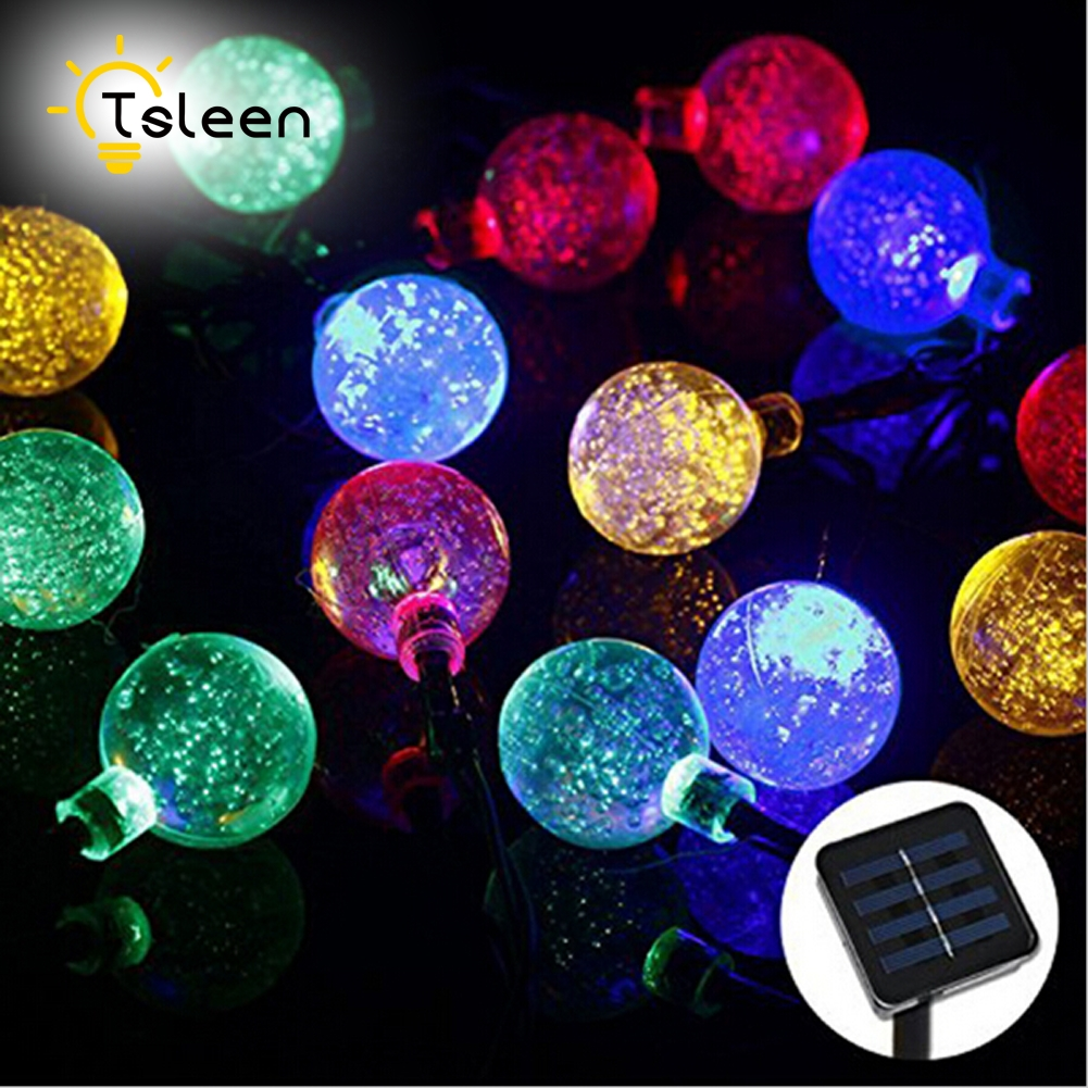 TSLEEN Solar Lamps 7M 50LEDs Crystal Ball Waterproof Colorful Fairy Outdoor Lamp Garden Christmas Party Decoration String Light