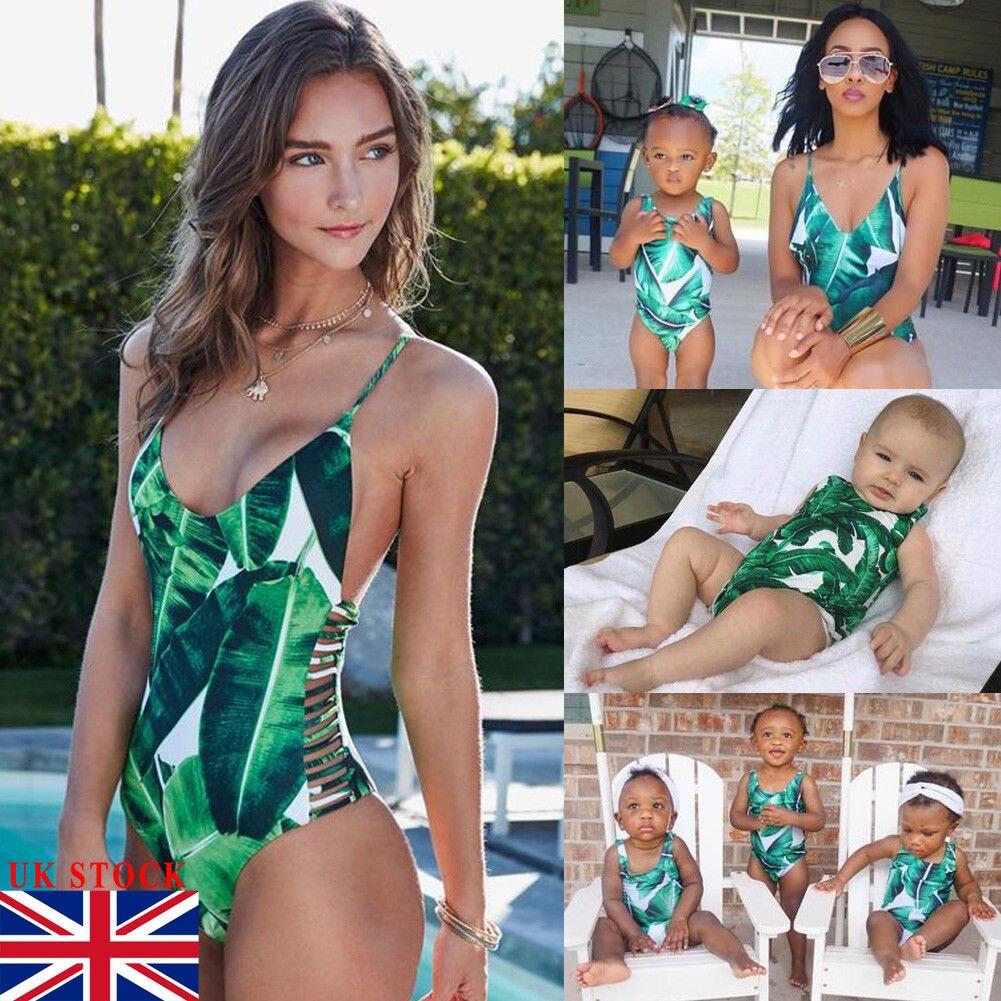 2019 New Style Family Matching Swimwear Mother Daughter Women Kid Baby Girls Swimsuit Bikini Bathingsuit Swimming Outfit