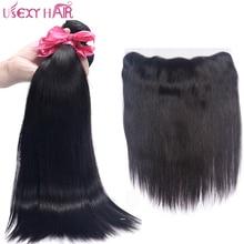 USEXY ВОЛОСЫ Индийские Прямые Человеческие Волосы 3 Связки С 13 * 4 Кружева Фронтальная Закрытие