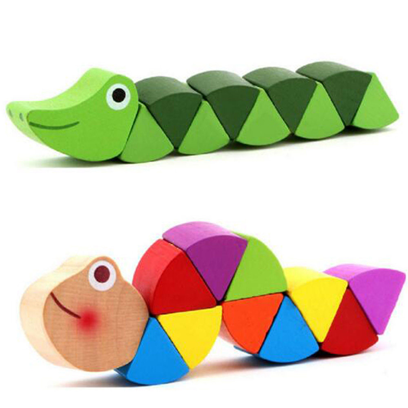 Flexible Crocodile Kids Educational Puzzles Caterpillars Toy Baby Wooden
