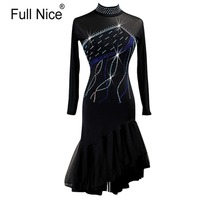 Crystals Rhinestones Long Sleeve Dress Latin Dance Dresses For Women