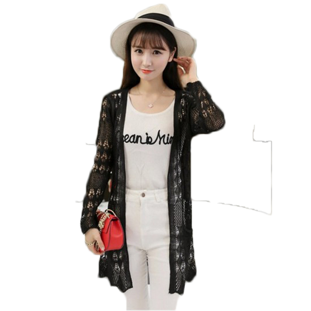2017 Ladies Crochet Tops Summer Hollow Out Knitted Sweaters Cardigan Rebecas Mujer Fashion Women Beach Cardigan Spring Autumn