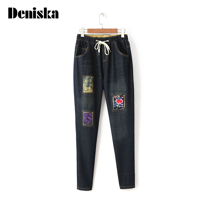 Embroidered Denim Pants Ripped Jeans Plus Size Vintage Pantalones Straight Drawstring Trousers 2017 Ladies Flowers Jeans