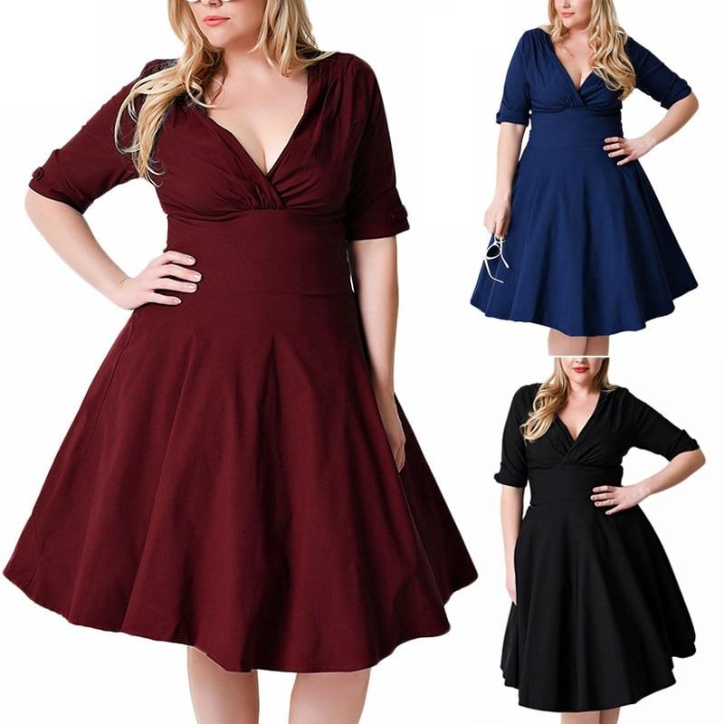 Big Size 3XL-9XL Women Dress Back Zipper 1/2 Sleeve V Neck Tunic Swing Wrap Dress Plus Size Dresses For Women 4XL 5XL 6XL Платье