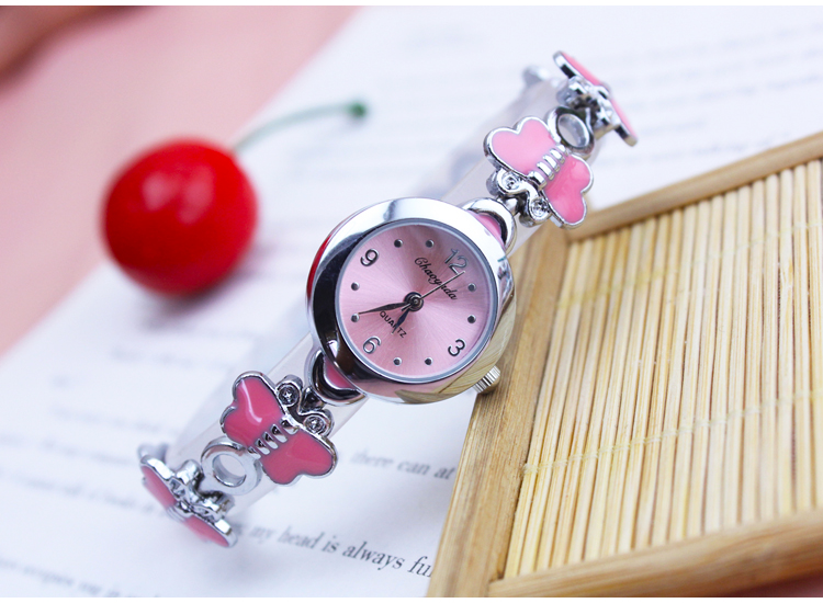 Children's watch student waterproof butterfly beautiful girl belt watch quartz watch fashion female stainless steel watch
