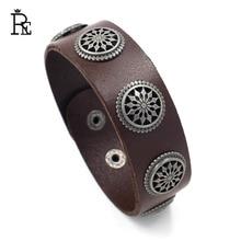 New fashion men jewelry vintage leather bracelets & bangles metal decoration bracelet adjustable brown/black J35 jiayiqi fashion men leather bracelets black brown color bracelets