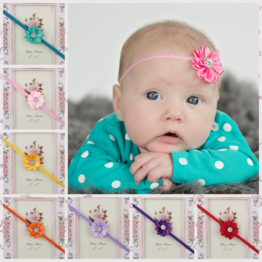 Hot Sale Newborn Baby Girls Satin Ribbon Flower Headbands With Rhinestone For Photography Props Infant Baby Kids Headband