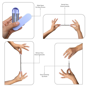 Image 3 - Canudo reusável dobrável dobrável do metal da palha bebendo telescópica com furo do chaveiro para acessórios da barra do curso ao ar livre