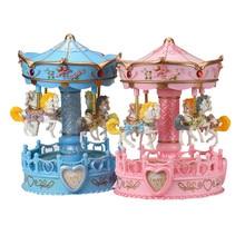 Vintage Horse Carousel Music Box Toy Light Clockwork Musical Birthday valentines day Gifts music boxes sale muzik kutusu & EW54