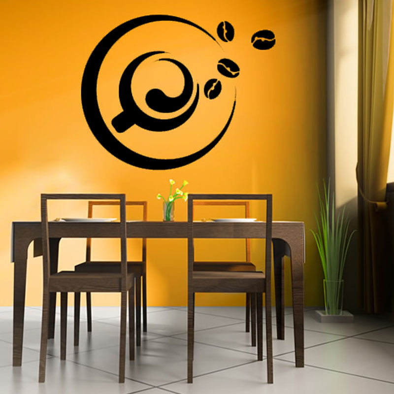 Removable A Cup Of Coffee And Coffee Bean Wall Sticker ...