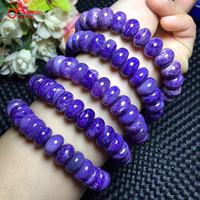 Aladdin Natural Charoite 12mm Beaded Bracelets Noble Purple Crystal Bangles precious Stone Men/Women Fashion jewelry Add charm