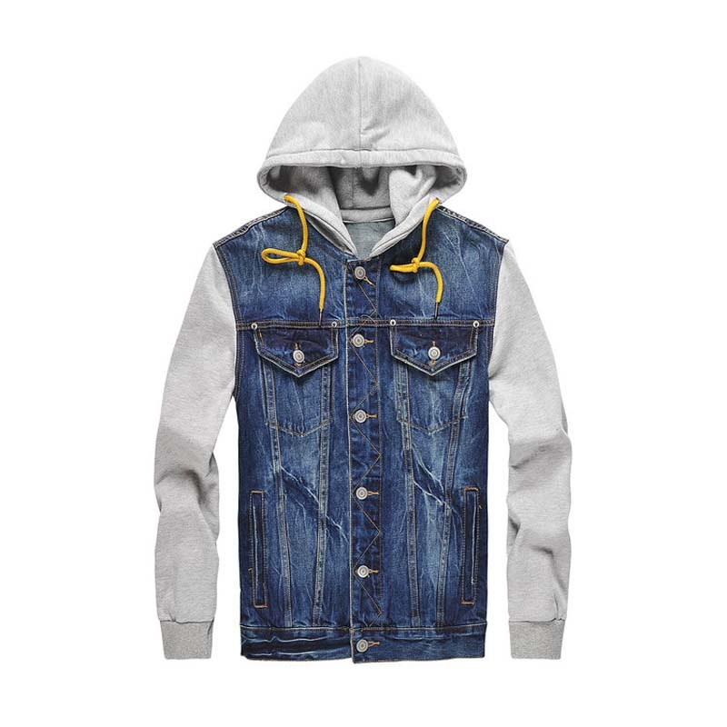 NEW Denim Jacket Men hooded sportswear Outdoors Casual fashion Jeans Jackets Hoodies Cowboy Mens Jacket and Coat Plus Size M/5XL men jeans casual pants mens denim trousers 2017 spring new male slim fit jeans plus size m 4xl 5xl autumn long cowboy pant