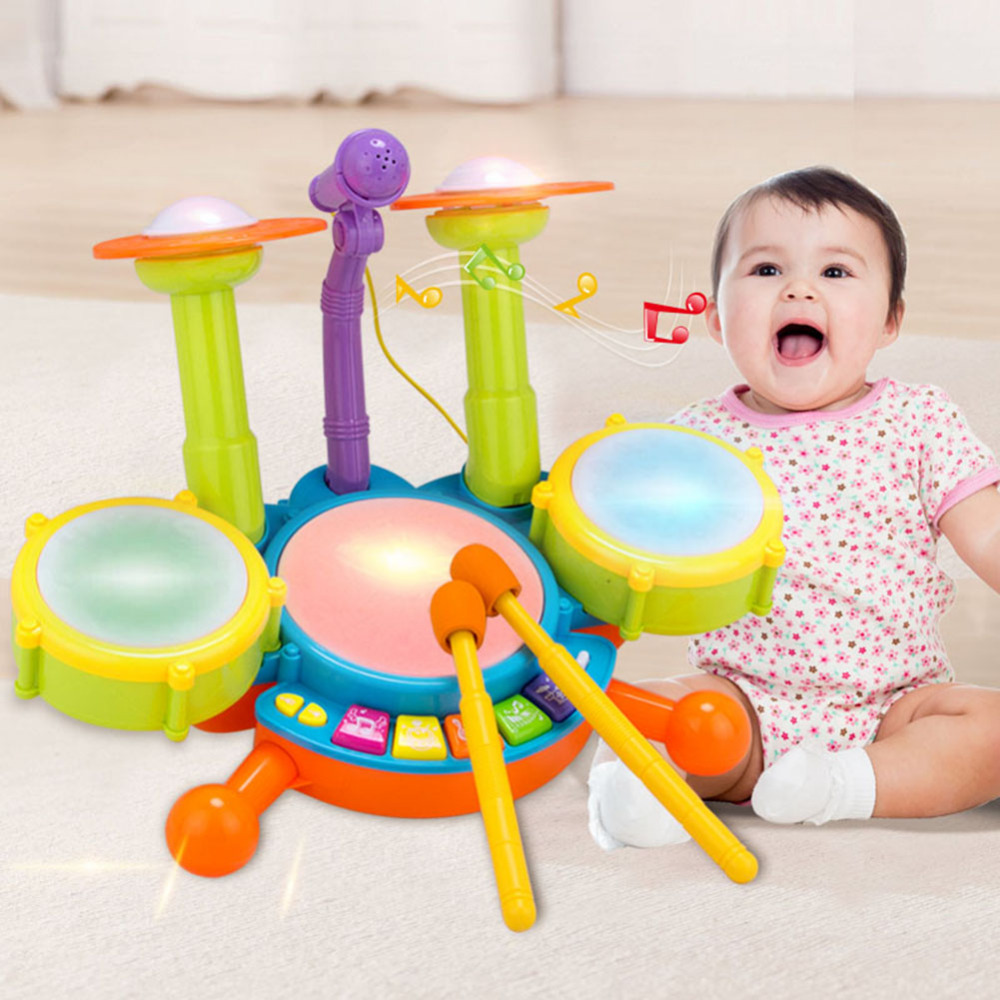 все цены на Baby Musical Toys Musical Microphone Drum Kit Set Children Kids Puzzle Early Educational Toy for Children Boy Girls