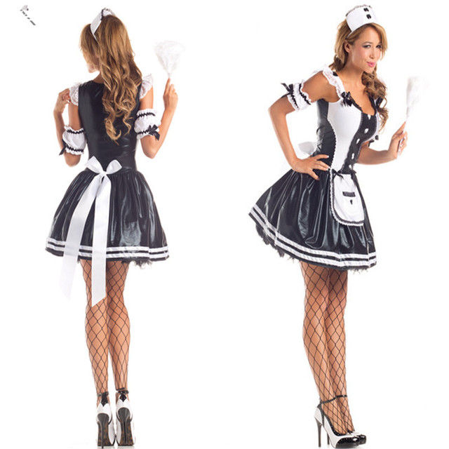 wholesale price sexy halloween french maid costume blackwhite waiter outfit party housekeeper fancy dress cosplay uniform