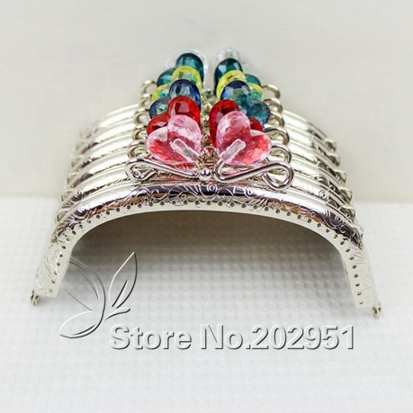 20 pcs lot 12 5 cm Sliver Heart Flower Head Candy Bead Purse Frame Handle for