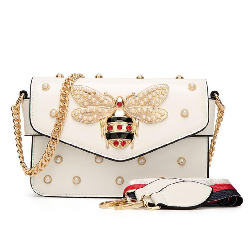 Women Crossbody Bag Brand Desinger Rhinestones Bee Pu Leather Shoulder Bag Small With Chain For Girls Ladies Bag Bolso Mujer