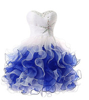 2 Colors Short Homecoming Dress With Ruffles Beads Strapless Ball Gown Event Dresses For Juniors Lace
