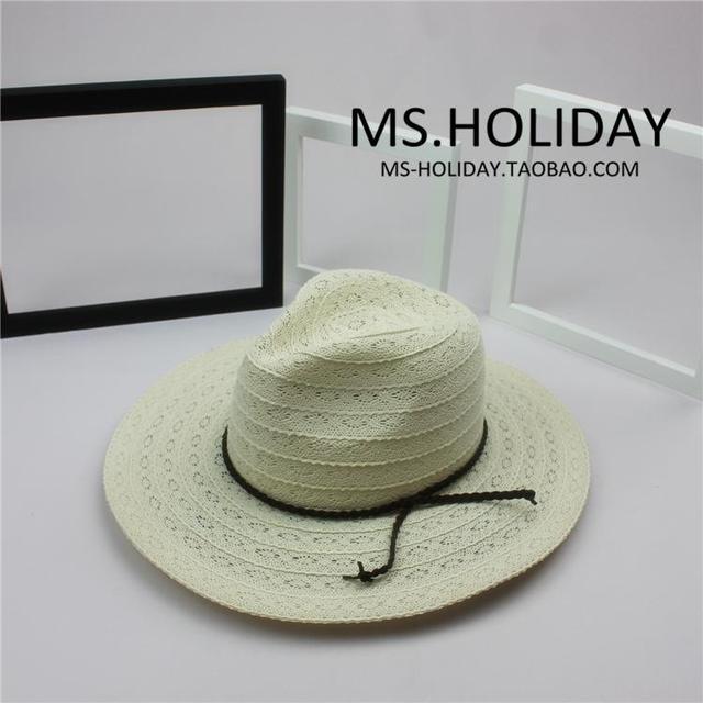 Verano estilo exclusivo de encaje personalizado damas de algodón panamá sombrero de paja de vacaciones recorrido sol sombrero Visor marca mujeres elegante casquillo de la playa