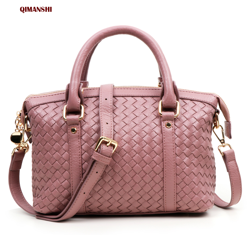 QIMANSHI New Arrival Knitting Women Handbag Fashion Weave Shoulder Bags Casual Female CrossBody Bag Retro Tote bag for women new arrival crocodilian veins embellished handbag slanting bag for female