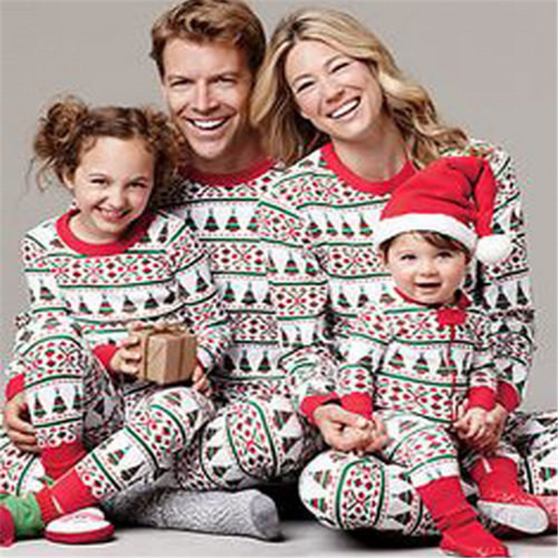 Christmas Family Matching Clothes Set Xmas Father Mother Kid Baby Pyjamas Sets 2017 New  ...