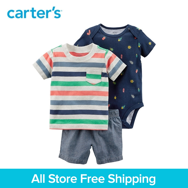 3pcs striped tee insect prints bodysuit chambray shorts clothing sets Carter's baby boy soft cotton summer 121I133 contrast trim ribbed tee with striped shorts