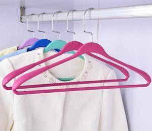 Image 5 - Colorful Anti slip Rubber Paint Seamless Hanger Wide Shoulder Coat Wardrobe Hanger