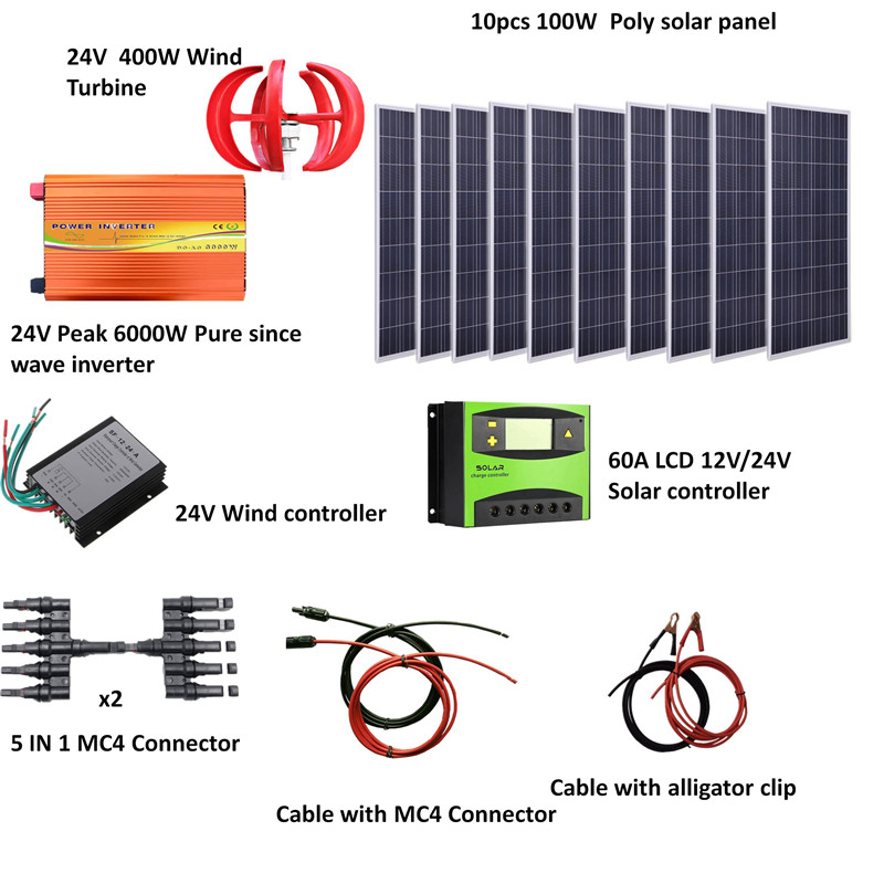 1400W Wind Solar Power System: 1000W poly solar panel,400W Wind Turbine,peak 6000w pure since wave inverter, controller image