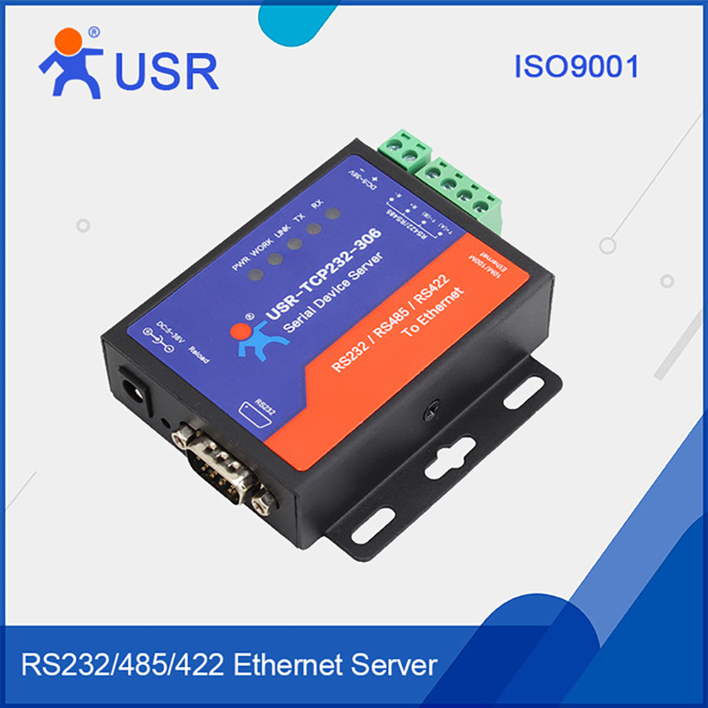 USR-TCP232-306 Serial Device Server RS232 RS485 RS422 to TCP IP Ethernet Converter Module Support DNS DHCP Buit-in Webpage Q104 q18040 usriot usr n520 serial to ethernet server tcp ip converter double serial device rs232 rs485 rs422 multi host polling