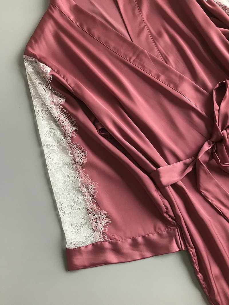 QWEEK халат комплект сексуальное кружевное Женское ночное белье халат комплект атласное Ночное платье комплект Ночная рубашка и халат комплект Ночная рубашка с нагрудники