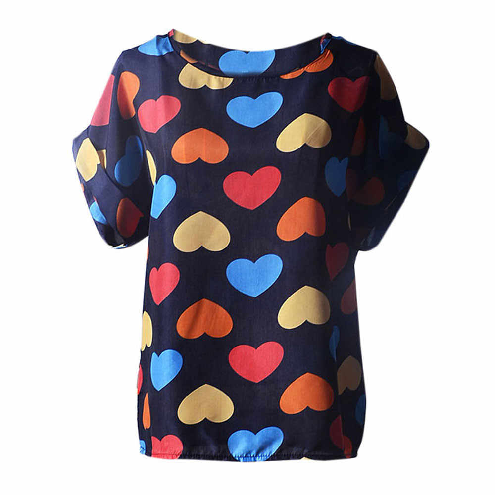 Women s Short Printing Fit Loose Comfort  Sleeve Casual Flower Print Tropical Chiffon Shirt ropa mujer