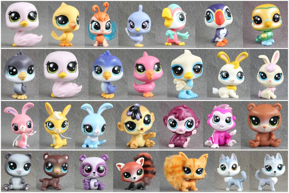 1pcs LPS Pet Collection Figure Bird Ribbat Monkey Bear Wolf Animals Child Loose Cute Toys lps toy pet shop cute beach coconut trees and crabs action figure pvc lps toys for children birthday christmas gift
