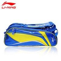 Li Ning китай нации команды ракетки для бадминтона сумка ABJJ054 ABJJ058 подкладка 6/9 ракетка сумка для Для мужчин и Для женщин Li ning спортивный рюкзак