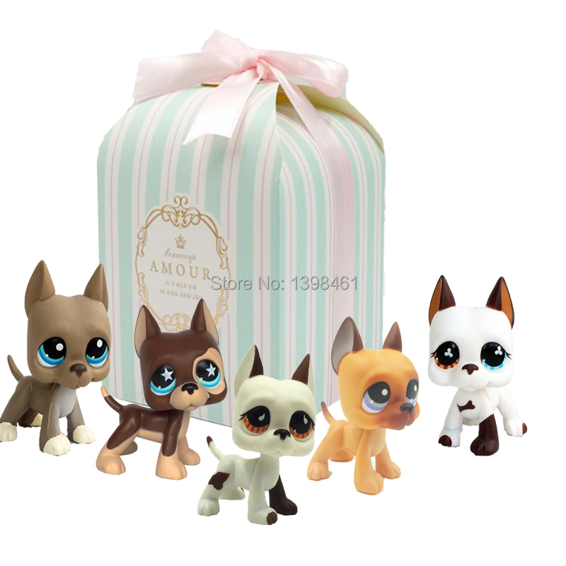 5Pcs/lot rare pet shop lps toys dog littlest great dane mini white brown puppy kid collectible gift with box 817-750-577-184-244 genuine pet shop 577 brown white