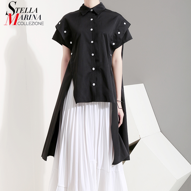 New 2019 Korean Style Women Summer Tops Black   Blouse     Shirt   Long Side Buttons Decorated Female Casual   Blouses   chemise femme 5097