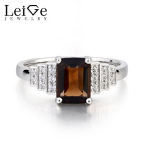 Leige Jewelry Real Natural Smoky Quartz Ring Promise Ring Emerald Cut Brown Gemstone Solid 925 Sterling
