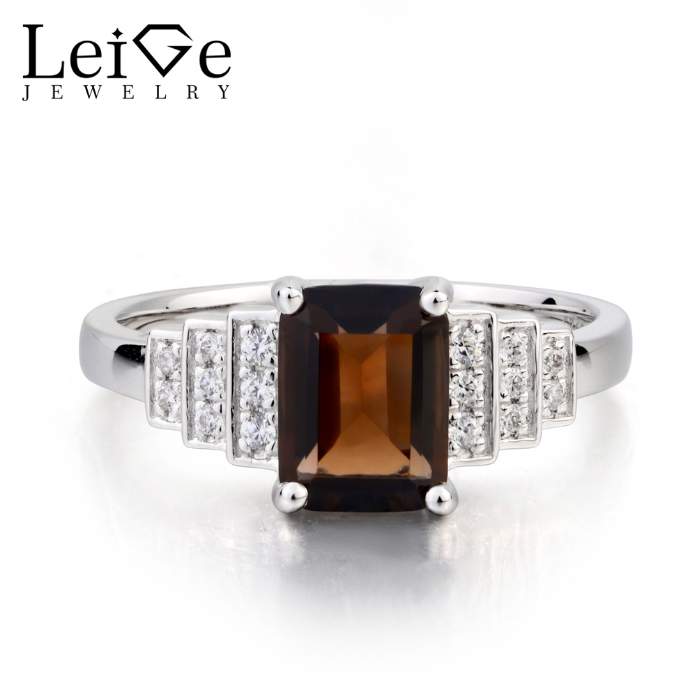 Leige Jewelry Real Natural Smoky Quartz Ring Promise Ring Emerald Cut Brown Gemstone Solid 925 Sterling Silver Ring GiftsLeige Jewelry Real Natural Smoky Quartz Ring Promise Ring Emerald Cut Brown Gemstone Solid 925 Sterling Silver Ring Gifts