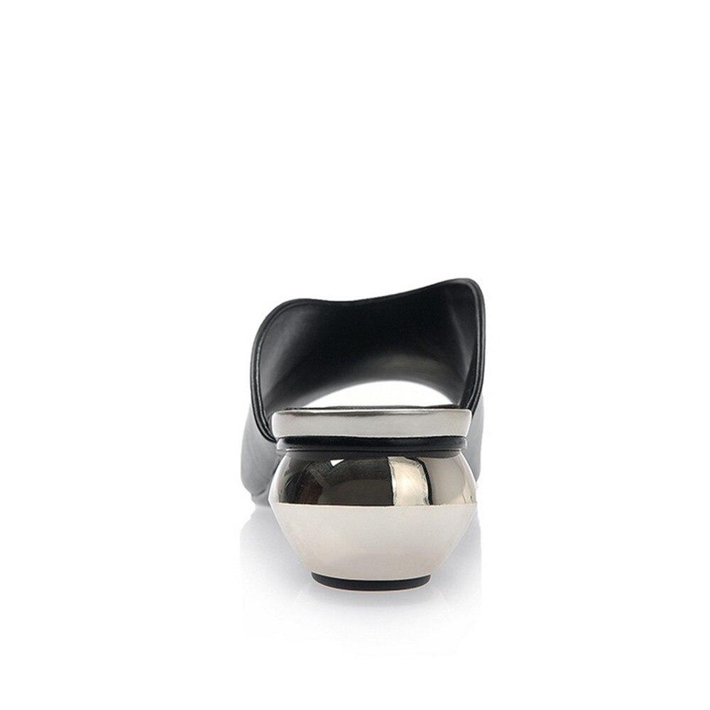 34 white Véritable Talons Sandales Cuir Mode Black Épais En Grande Taille Femmes Design Nouveau Pantoufles 42 Main Femme Orshirly iOXkuTlZwP