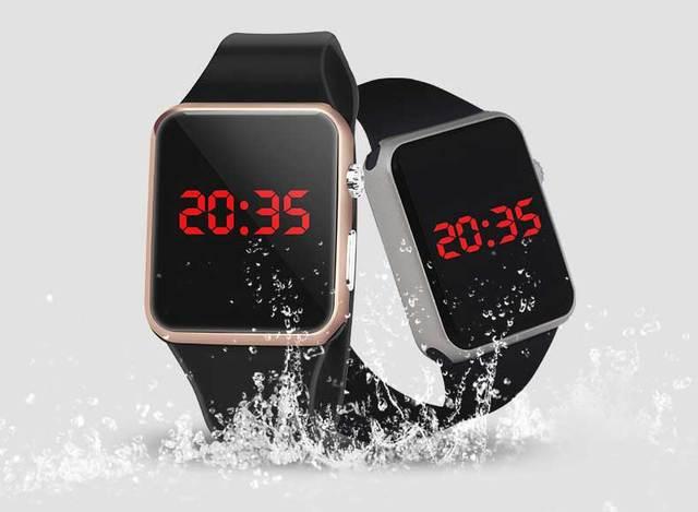 587da09f246 Personalidade Quadrado LED Banda Silicone Relógio Digital LED Vermelho  Relógios armação de Metal Do Esporte relógio