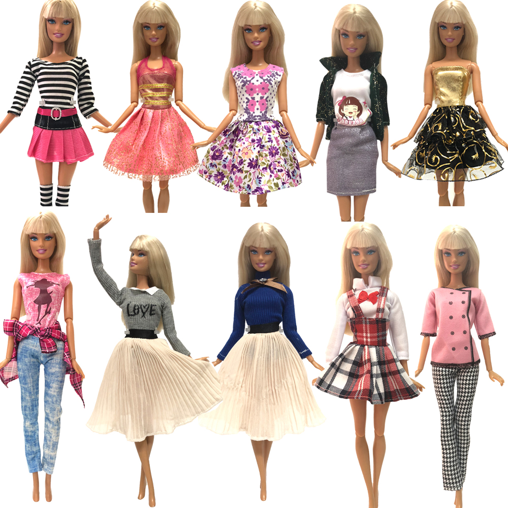 NK  One Pcs Doll Dress  Skirt Fashion  Party Gown Dancing Dress  For Barbie Doll Accessories Child Gift Baby Toy JJ