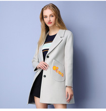 2016 Autumn Winter Fashion Wool Coat Women Long Section Slim Embroidered Single breasted Wool Woolen Coat
