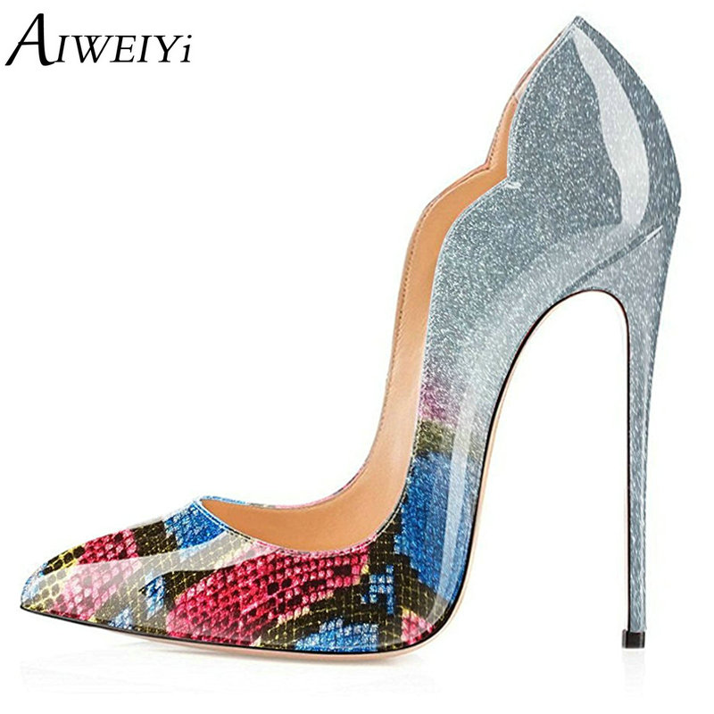 AIWEIYi Women Pumps Bling Stiletto High Heels Women Pumps Glitter High Heel Shoes Woman Sexy Patent Leather Ladies Wedding Shoes aiweiyi women s pumps shoes 100