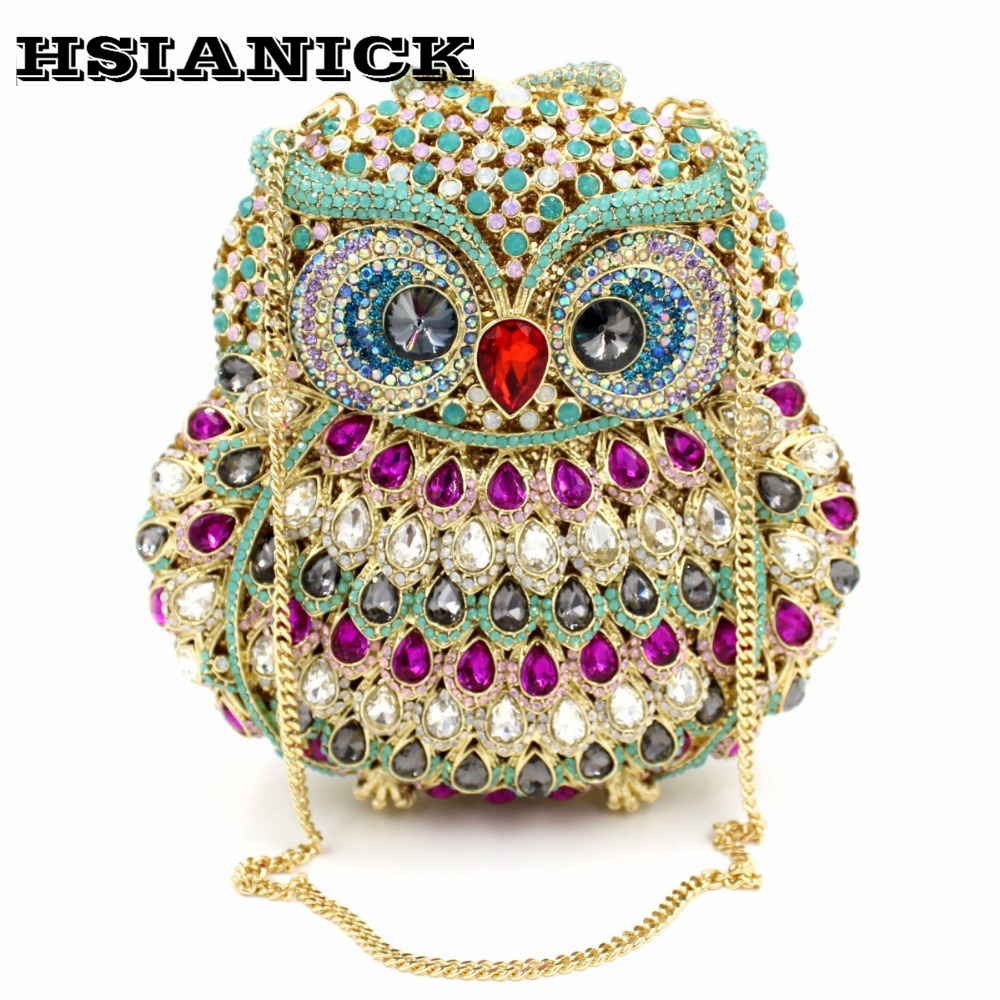 2017 New Arrival Owl Design Luxury Handmade Crystal Diamond Evening Bag High-grade Elegant Full Handbag Clutch Wedding Party europe tiger design hot selling high end luxury full diamond evening bag holding evening clutch handbag wedding party clutch bag
