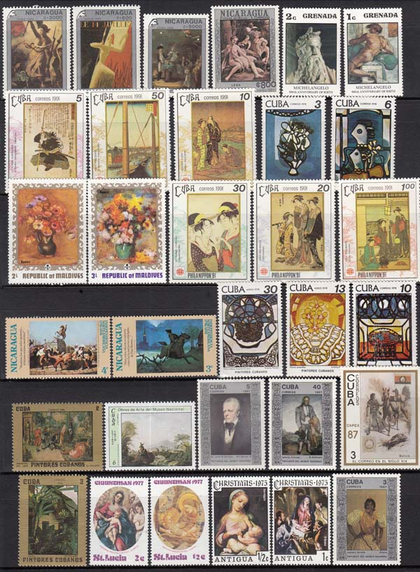 50Pcs/Pack Artist Paint Famous Paintings All Different From Many Countries NO Repeat Unused Postage Stamps for Collecting image