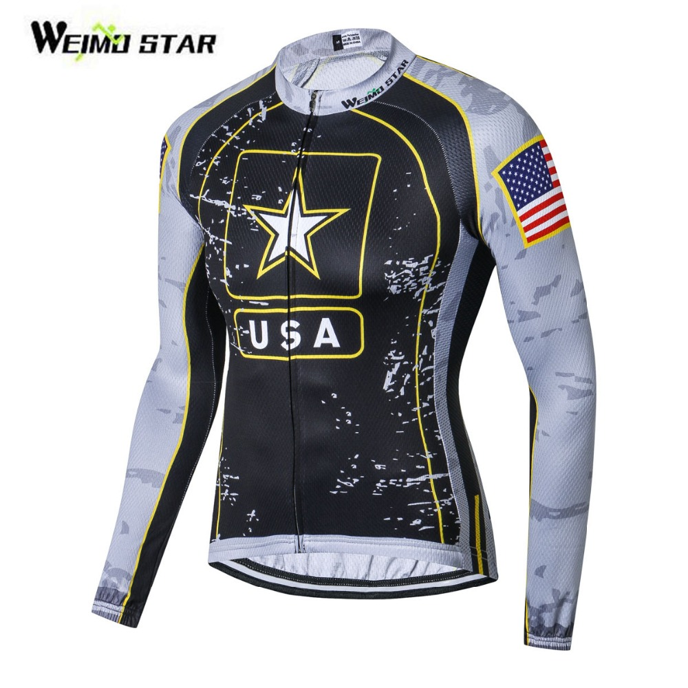 Weimostar USA Flag Star Bike jersey Men Cycling Clothing Male MTB Ropa Ciclismo Maillot Long Sleeve Shirt Bicycle Riding Top