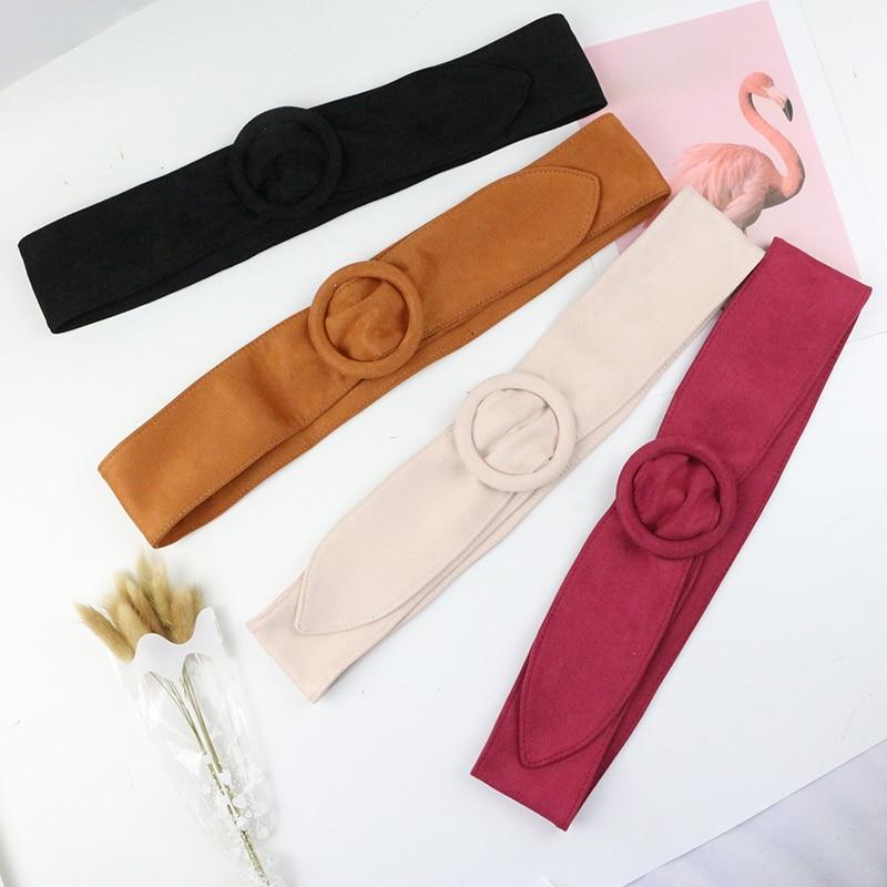 Round Buckle Long Velvet Belt Wide Belts For Women Femme Of Marque Luxe Waistband Decorate Dress Coat Sweater Belt Waist Seal