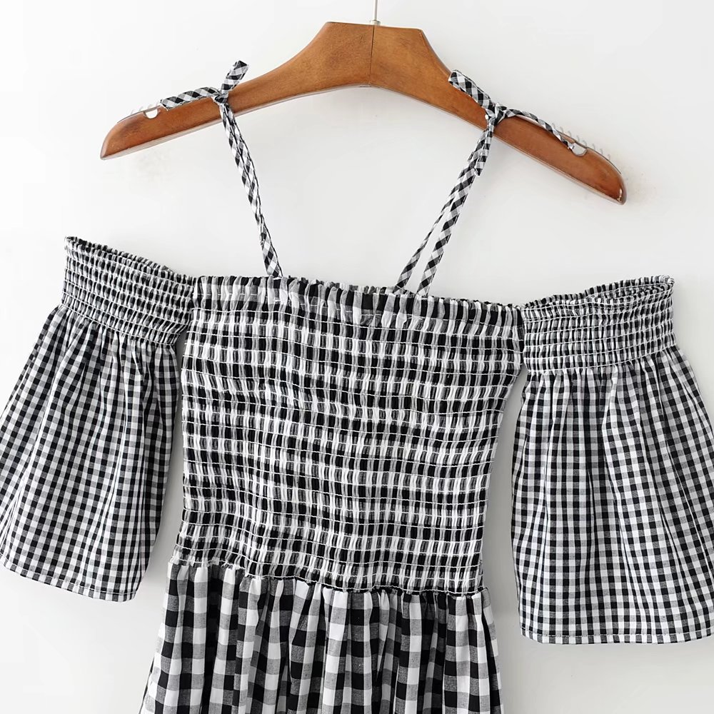 ac4342d4e50 Aliexpress.com   Buy Women Bell Sleeve Checkered Mini Cami Dress Tie Cold  Shoulder Gingham Print Cami Dresses from Reliable cami dress suppliers on  Shanghai ...