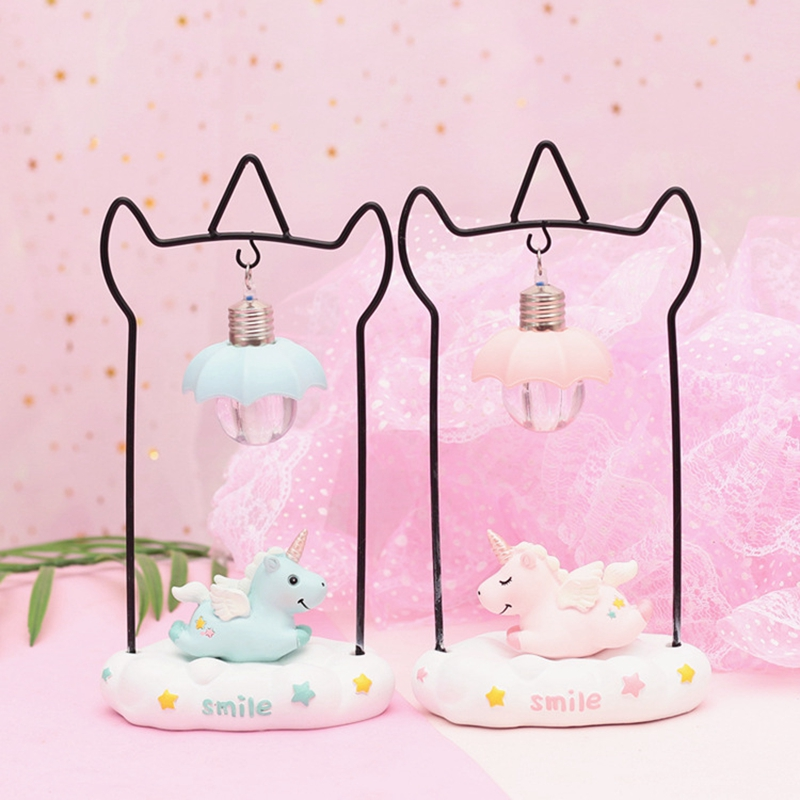Cartoon Unicorn Resin LED Night Light Girls Room Decoration Lamp Bedside Lamp For Baby Kids Christmas New Year Birthday Gift (4)