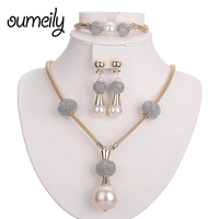 Women Fine Crystal Pearl Jewelry Sets Gold Plated Pendant Wedding Dress Accessories Austrian Earrings Bracelets Necklace